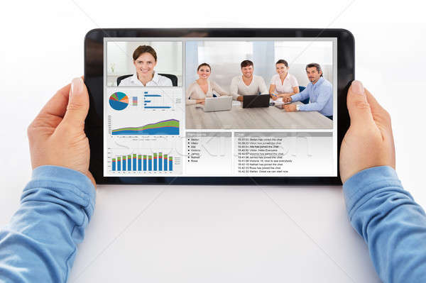 Businesswoman Attending Video Conference On Digital Tablet Stock photo © AndreyPopov