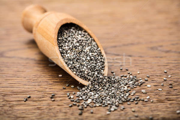 Raw Chia Seeds On Wooden Scoop Stock photo © AndreyPopov