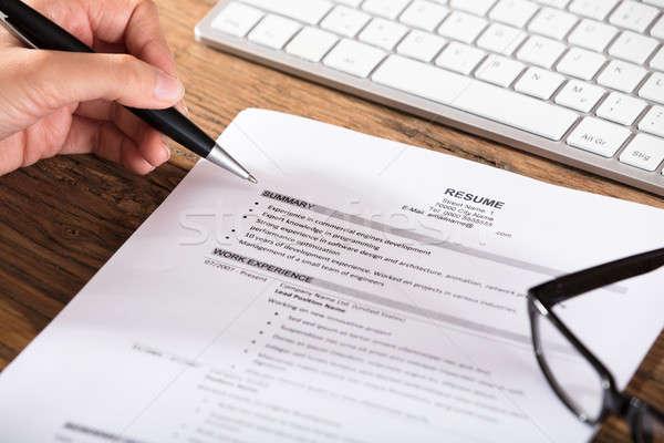 Job Seeker Review Resume Stock photo © AndreyPopov
