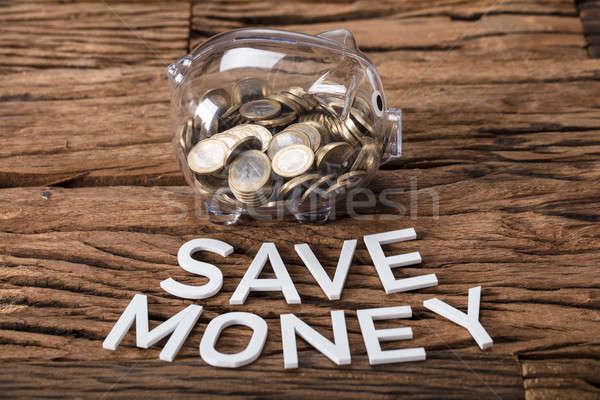 érmék üveg persely megtakarítás szöveg fa Stock fotó © AndreyPopov