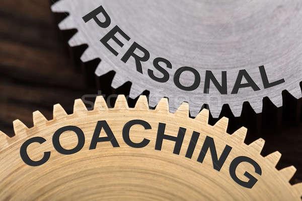 Personal Coaching Concept On Interlocked Cogwheels Stock photo © AndreyPopov