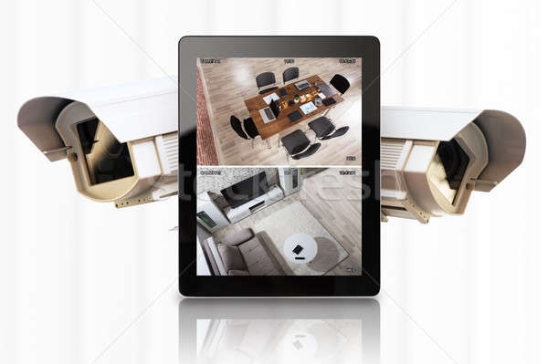 Tablet video cctv camera witte Stockfoto © AndreyPopov