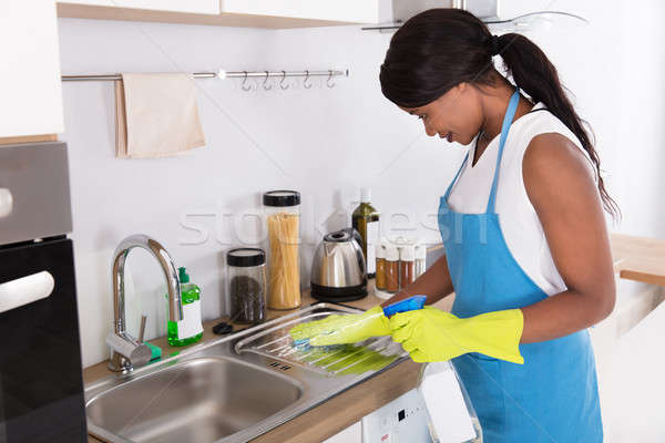 Woman Cleaning Kitchen Sink With Spray Bottle Stock photo © AndreyPopov