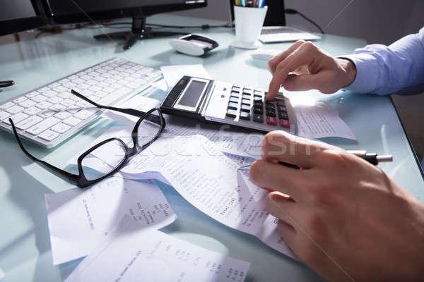 Primer plano recepción mano lugar de trabajo oficina trabajo Foto stock © AndreyPopov