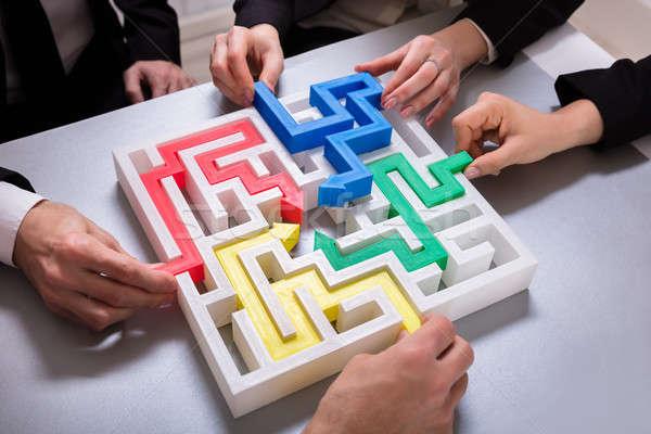 グループ 迷路 パズル 表示 手 ストックフォト © AndreyPopov