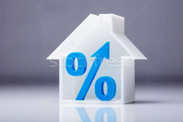 Percentage symbool binnenkant huis model Blauw Stockfoto © AndreyPopov