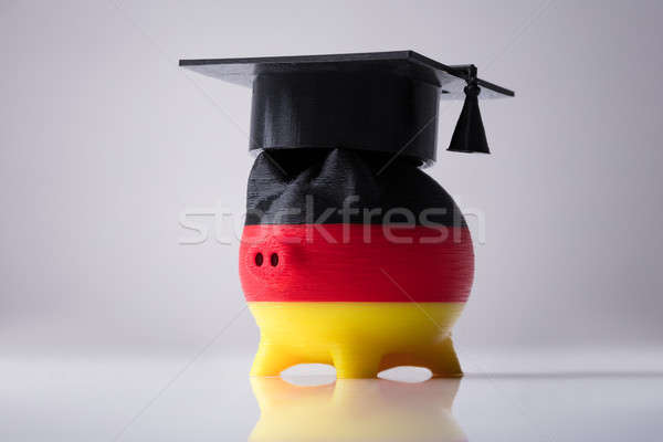 Piggybank Painted With German Flag Wearing Graduation Hardhat Stock photo © AndreyPopov