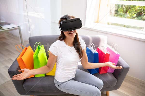 Felice indossare virtuale realtà occhiali Foto d'archivio © AndreyPopov