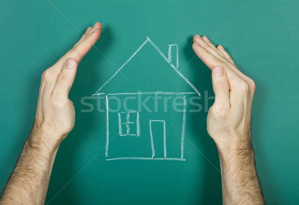 Tekening huis schoolbord hand krijttekening Stockfoto © AndreyPopov
