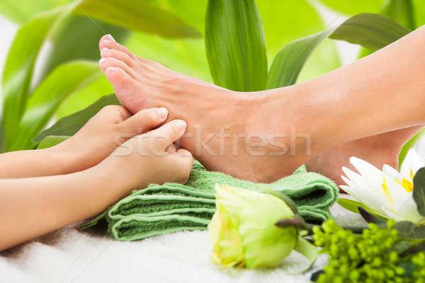 Masseuse voet bladeren afbeelding spa Stockfoto © AndreyPopov