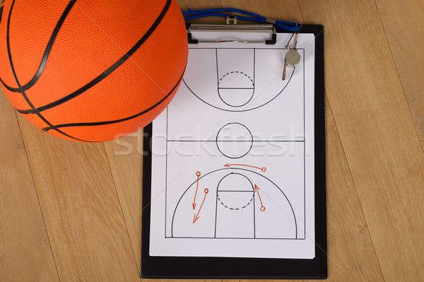 Fischiare basket tattica carta primo piano sport Foto d'archivio © AndreyPopov