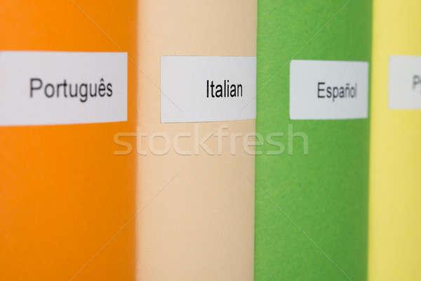 Boeken verschillend talen veelkleurig onderwijs Stockfoto © AndreyPopov