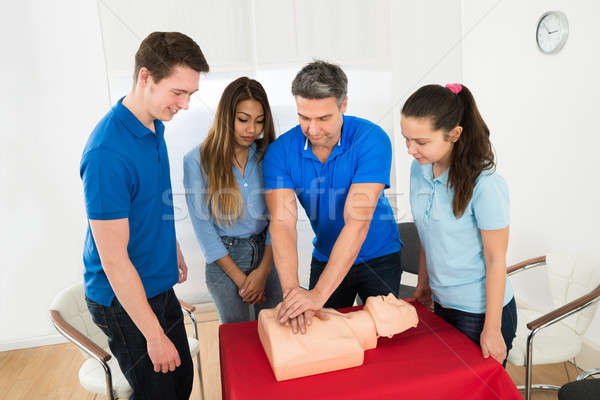 Resuscitation Training Using First-aid Dummy Stock photo © AndreyPopov