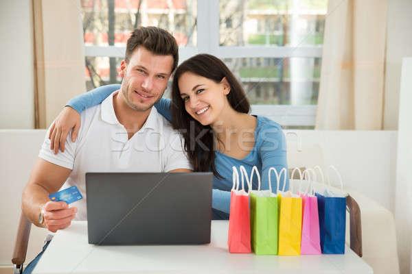 çift alışveriş çevrimiçi portre mutlu Stok fotoğraf © AndreyPopov
