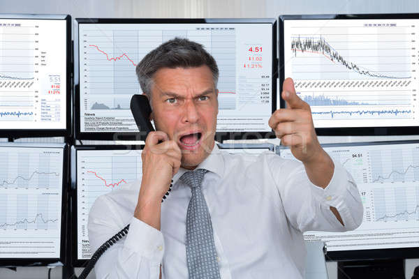 Angry Stock Trader Shouting Stock photo © AndreyPopov