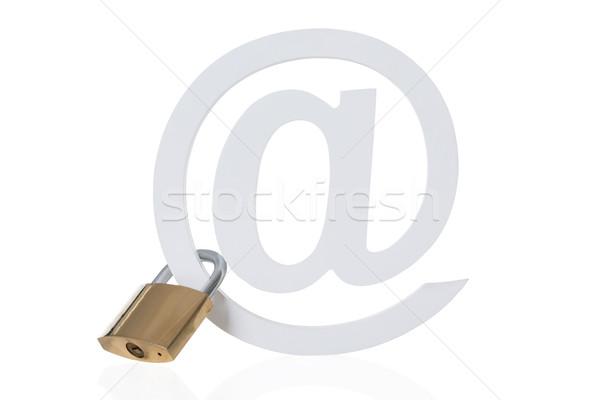 замок прилагается электронная почта символ изолированный белый Сток-фото © AndreyPopov