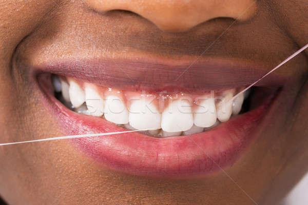 Сток-фото: африканских · женщину · зубов · молодые · дома