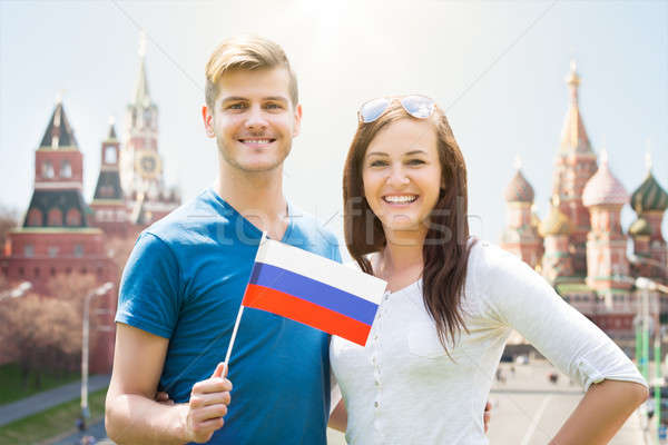 Young Couple Holding Russia Flag Stock photo © AndreyPopov