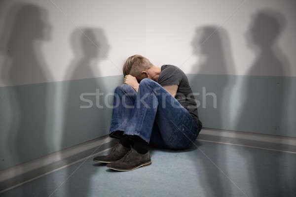 怖い 男 その他 人 影 壁 ストックフォト © AndreyPopov