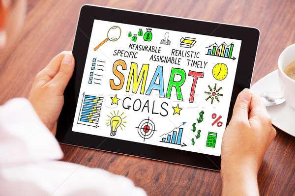 Businessperson Using Digital Tablet Showing Smart Goals Concept Stock photo © AndreyPopov