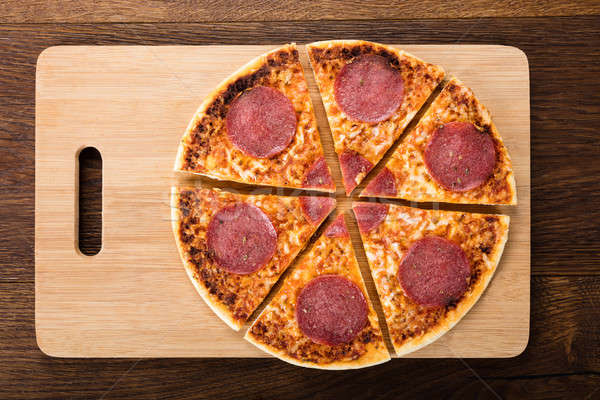 Slices Of Homemade Salami Pizza Stock photo © AndreyPopov
