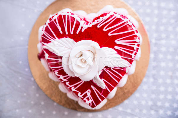 Red Heat Shaped Cake Stock photo © AndreyPopov