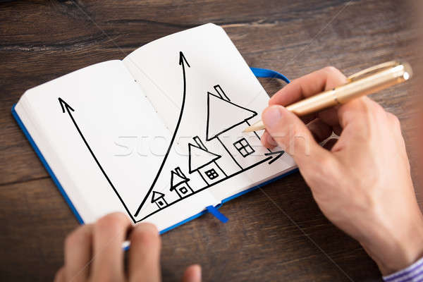 Businessperson Drawing The Houses Chart On Diary Stock photo © AndreyPopov
