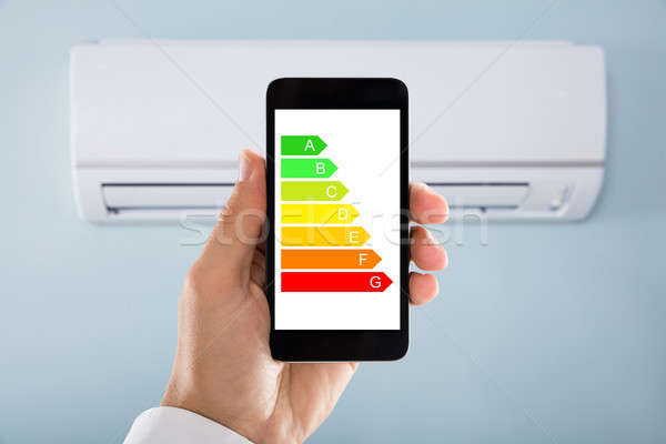El enerji etiket cep telefonu klima Stok fotoğraf © AndreyPopov