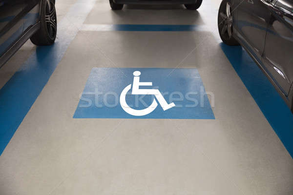 Stock photo: Handicap sign for parking in garage