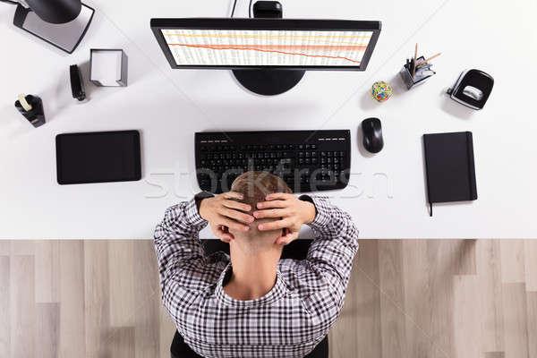 Frustrado hombre de negocios ordenador vista oficina Internet Foto stock © AndreyPopov