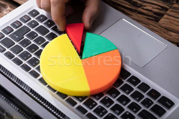 Foto stock: Mão · humana · último · peça · laptop