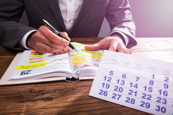 Businessperson's Hand Checking Schedule In Diary Stock photo © AndreyPopov