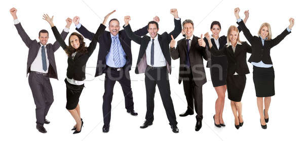 Stockfoto: Groep · mensen · opgewonden · zakenlieden · geïsoleerd · witte