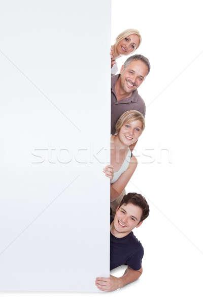 Familia feliz cartel dos ninos Foto stock © AndreyPopov