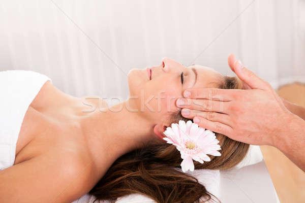 Bela mulher tratamento de spa flor cabelo sorridente Foto stock © AndreyPopov