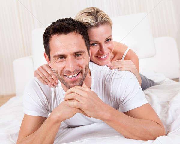 улыбаясь романтические пару играет Top красивый мужчина Сток-фото © AndreyPopov