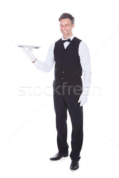 портрет счастливым мужчины официант пусто Сток-фото © AndreyPopov