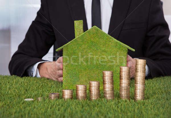 üzletember boglya érmék környezetbarát ház tart Stock fotó © AndreyPopov
