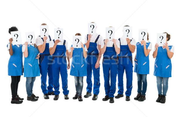 сокрытие лицах вопросительный знак признаков белый Сток-фото © AndreyPopov