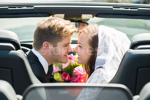 Newlyweds Young Couple Kissing In The Car Stock photo © AndreyPopov