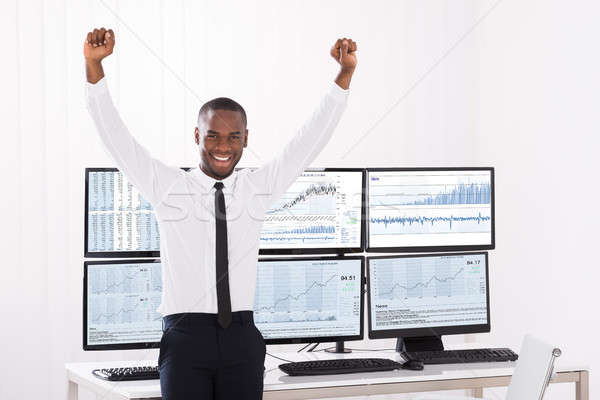 Portrait Of Happy Male Stock Market Broker Stock photo © AndreyPopov