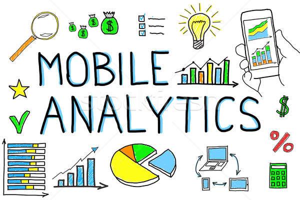 Diagram mobiele analytics witte telefoon technologie Stockfoto © AndreyPopov