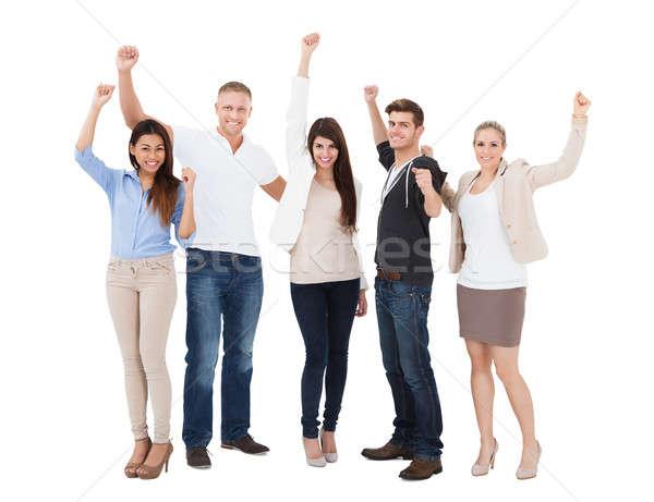 People Raising Hand Over White Background Stock photo © AndreyPopov