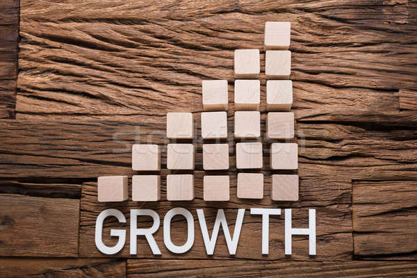 Growth Text By Increasing Bar Graph Blocks On Wood Stock photo © AndreyPopov