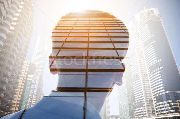 Podwoić ekspozycja biznesmen wieżowiec światło słoneczne miasta Zdjęcia stock © AndreyPopov