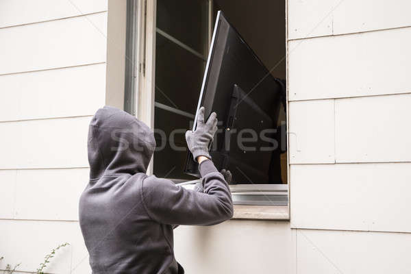 Robbers Stealing Television Through House Window Stock photo © AndreyPopov