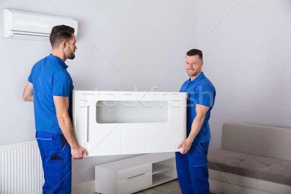 2 家具 リビングルーム 笑みを浮かべて 小さな ストックフォト © AndreyPopov