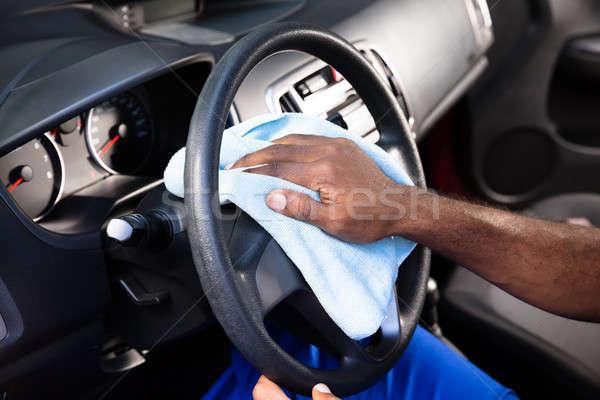 Trabajador limpieza coche volante primer plano persona Foto stock © AndreyPopov