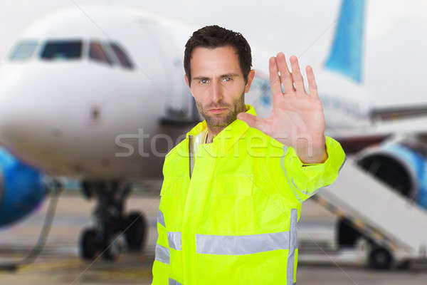 Air Traffic Controller Gesturing Stop Sign Stock photo © AndreyPopov