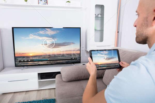 Televisie kanaal wifi man digitale Stockfoto © AndreyPopov